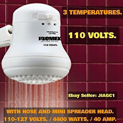 Electric Shower Head Instant 💯% Hot Water Heater (Plomex 3-Temp.) 110V./4400W.