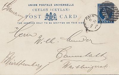 Ceylon: post card 1896 to Cannstatt/Germany