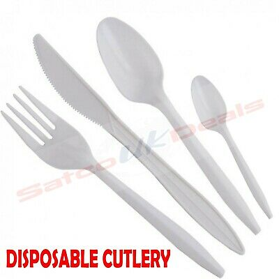 DISPOSABLE Plastic FORK and SPOONS, KNIVES White Cutlery Dessert Party Set NEW