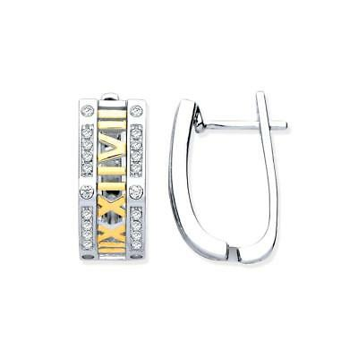 Sterling Silver & Yellow Gold Plated Roman Numeral Cubic Zirconia Hoop Earrings