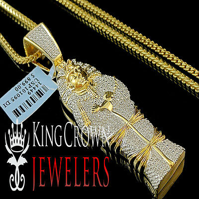 Diamond Egyptian Pharaoh King Tut Mummy Pendant 10K Yellow Gold Finish Charm