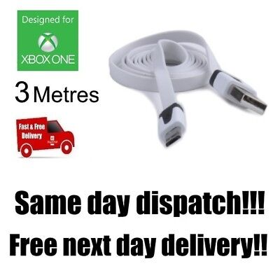 WHITE Xbox One Controller Charging Cable 3 Metre 3m Long Lead USB UK Stock C105F