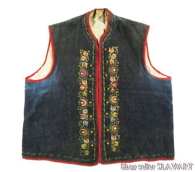 Antique Czech folk costume embroidered vest Hana Moravian kroj velvet floral art