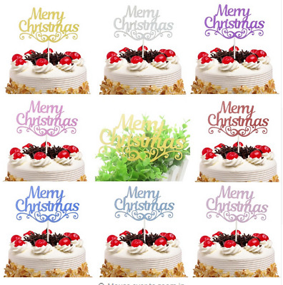 Merry Christmas Cake Pick Topper Decoration Gold Silver Pink Glitter Calligraphy
