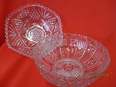 2 x Fruit Bowls Clear Cut Glass Round & Hexagon Shaped Desserts Trifles Jellys