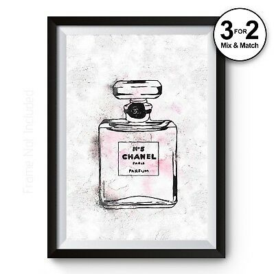Coco Chanel Wall Art Print, 100% COTTON No5 Perfum Parfum Bottle Painting Poster