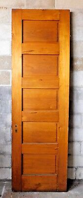 Antique Victorian Interior 5 Panel Door - 1885 Butternut Architectural Salvage
