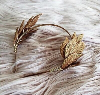 MJ Millinery Gold Leaf Headband Fascinator