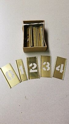 """2 1/2"""" Brass Interlocking Stencils Letters and Numbers 45 Pieces"""