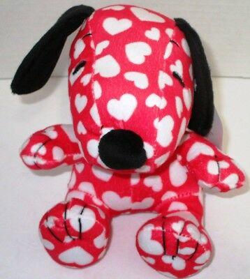 Plush Peanuts Snoopy Dog Red White Hearts Love Valentine Day Toy Stuffed Animal
