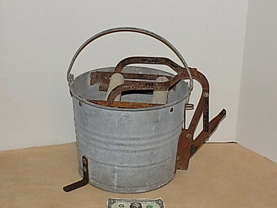 Vintage Victor Galvanized Mop Wringer bucket with wood rollers and Stamped