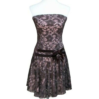Honey Punch Womens Floral Lace Overlay Strapless Skater Dress Brown Size M