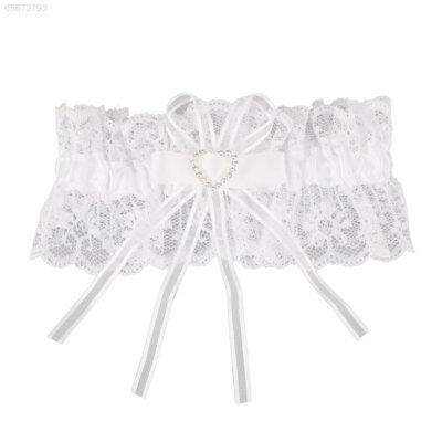 024E Ivory Satin Luxury Lace Bridal Fancy Bow Wedding Garter With Lucky Blue