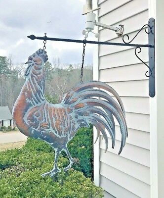 Lg STRUTTING ROOSTER on HANGING BRACKET Detailed 3D in AGED COPPER FINISH New
