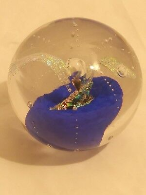 Elaine Hyde Dichroic Art Glass Paperweight Blue, Gold