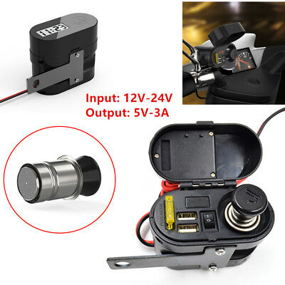 Universal Cigarette Lighter Dual USB Charger+Switch+LED Voltmeter High Quality