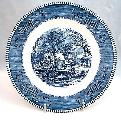 """Royal USA CURRIER & IVES BLUE """"The Old Grist Mill"""" Dinner Plate(s) 10"""""""