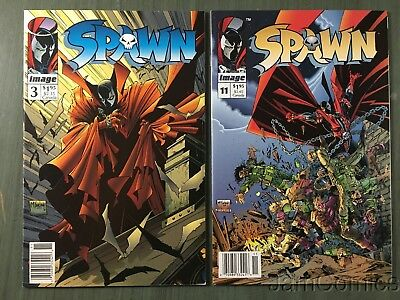 Spawn #3 & #11 Newsstand Editions Mid/High Grade Image Comic 2 Issue Lot