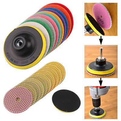 11x 4 Inch Wet/Dry Diamond Polishing Pads Kit For Granite Concrete Marble 100mm