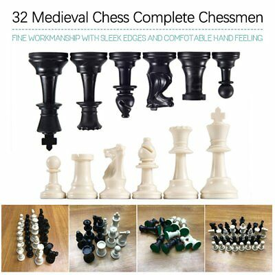 32 Medieval Chess Pieces/Plastic Complete Chessmen International Word Chess 3A