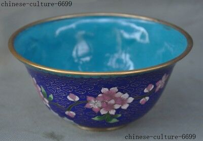 """6"""" Rare old Chinese bronze Cloisonne Flowers Dynasty palace Tea cup Bowl"""