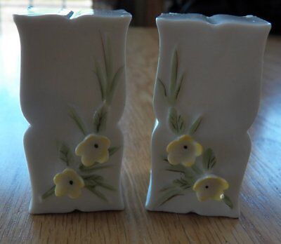 Vintage Decorative JAPAN Yellow Floral SALT & PEPPER Shakers Set Porcelain NEW
