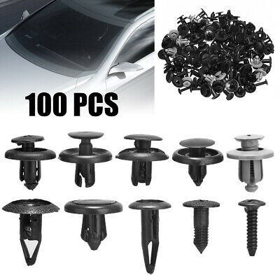100x  Plastic Trunk Screw Rivets Set Car Bumper Fender For Auto Fastener Clips