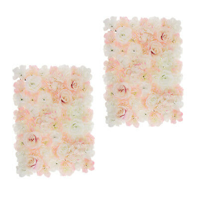 2pcs/Set Artificial Rose Hydrangea Flower Wall Panel White and Champagne