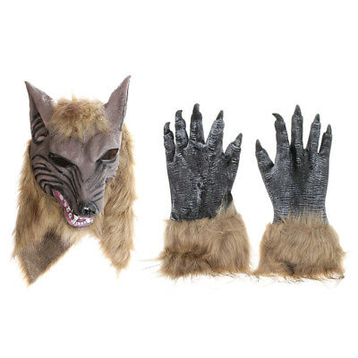 2pcs Wolf Werewolf Claw Paws Gloves Head Mask Halloween Party Costume Prop