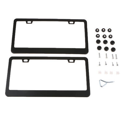 2x Black License Plate Frame Stainless Steel Tag Cover Screw Caps for US Car