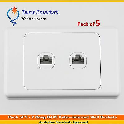 5 x 2 Gang RJ45 Data Internet Wall Socket Outlet Ethernet Network White