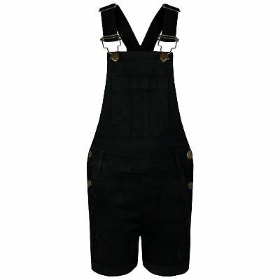Kids Girls Dungaree Short Black Denim Ripped Stretch Jeans Overall Jumpsuit 5-13
