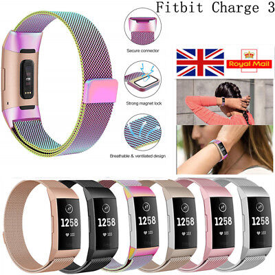 For Fitbit Charge 3 Replacement Milanese Strap Band Stainless Steel Magnet UK