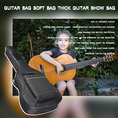"""41"""" Guitar Bag Acoustic Classical Electric Bass Case Cover Gig Bag Carry Strap W"""