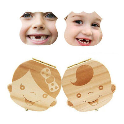 1PC Wood Baby Tooth Organizer Boxes Save Milk Teeth Collection Holder Boy Girl