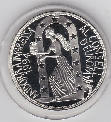 1995/94 Andorra Europe Silver Proof 10 Dinars In Mint Condition With A Capsule