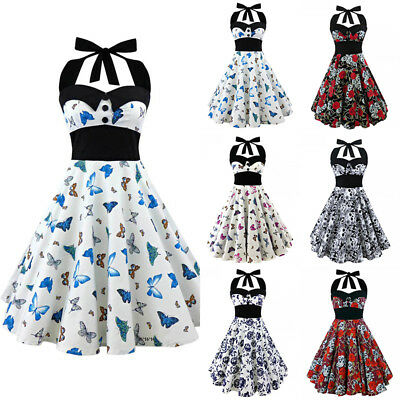 Vintage Women Gothic Skulls Floral Butterfly 50s 60s Party Club Rockabilly Dress