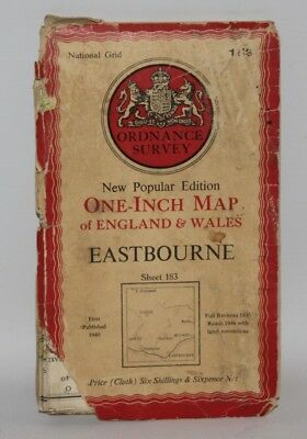 Ordnance Survey - One Inch Cloth Map - Eastbourne - Sheet 183 - 1940