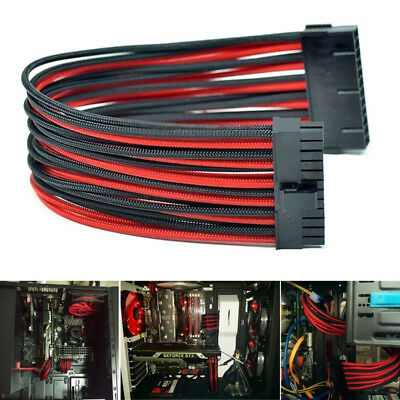 30cm 24Pin ATX Motherboard PSU Power-Supply Black Red Sleeved Extension Cable