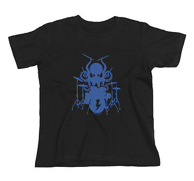 Kids Unisex Boys/Girls Funny OCTOPUS DRUMMER Drum Drumming Kit Music T-Shirt