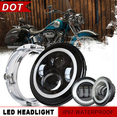 """7"""" Black LED Projector Headlight +Passing Light+1xRing Mount For Harley Touring"""
