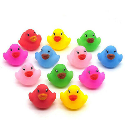 12pcs Mini Bathtime Rubber Duck Kids Baby Bath Toy Squeaky Water Play Fun Eager