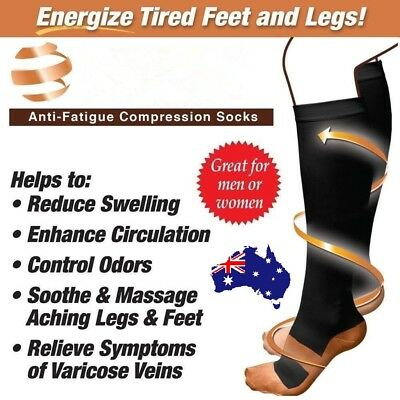 Copper Compression Socks Anti Fatigue Unisex Travel DVT Miracle Comfort Stocking