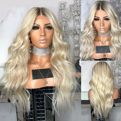 AU Women's Blonde Long Synthetic Hair Wigs Curly Ombre Natural Full Wavy Wig 28""