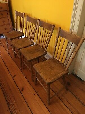 Set of 4 Antique Primitive Farmhouse Wood Plank Bottom Sway Back Chairs