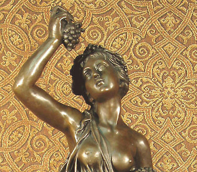 * Nice Bronze Metal Statue on Marble Base Grape Goddess Lover Wine WEDDING GIFT