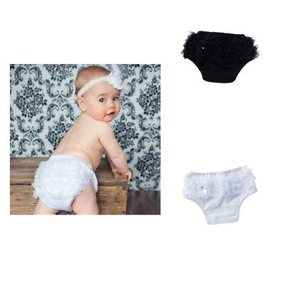 2x Baby Girls Lace Ruffle Shorts Pants Nappy Diaper Cover Bloomers Panties
