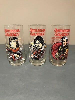 SET OF 3 1979 Battlestar Galactica Characters Glass Vintage Collectible