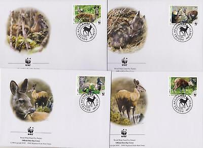 Afghanistan 2004 WWF - Himalayan Musk Deer - 4 First Day Covers FDC - (273)