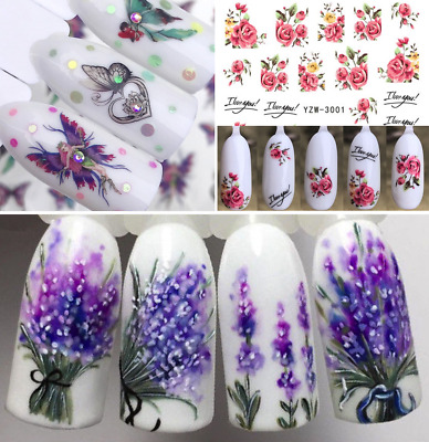 Adesivi Unghie Decalcomanie-Nail Art WATER Decals Stickers-Lavande-Fiori-Farfall